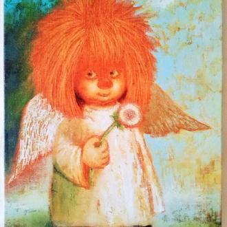 "Картина на холсте ""Ангел с одуванчиком"" (27х37 см.)"