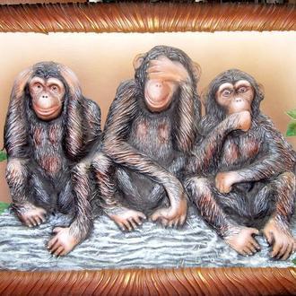 КАРТИНА ИЗ КОЖИ  ( Три обезьянки )