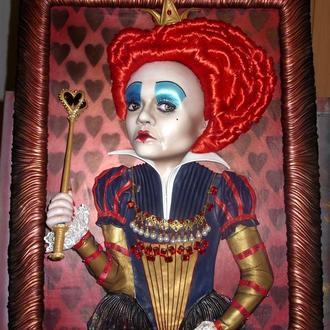 Картина из КОЖИ - Красная королева (Королева Червей)