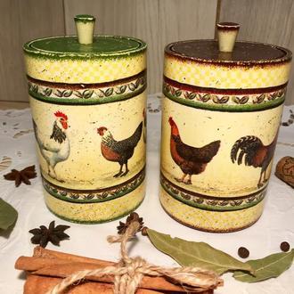 Набор деревянных баночек для сыпучих продуктов «Кантри»