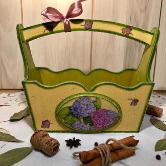 Корзинка деревянная «Гортензия»