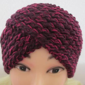 шапка-повязка вишнёвая