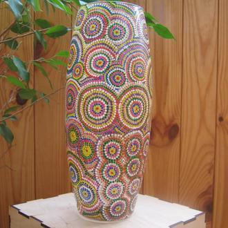 Стеклянная ваза, ручная роспись (Point-to-point), в подарочной деревянной коробке
