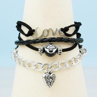 Готичный многослойный замшевый LOVE браслет с подвеской сердечко и головой обезьяны.