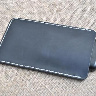 Черный чехол-карман из натуральной кожи H08-0+white