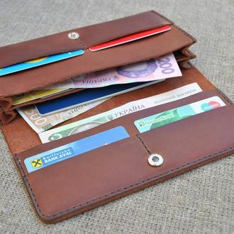 Кожаный кошелек двойного сложения K22-210