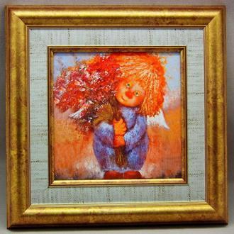 """Картина на керамике в раме """"Ангел с букетом - все для тебя"""""""