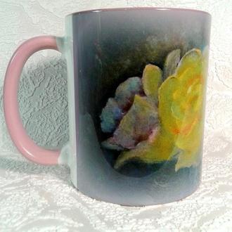 """Чашка керамічна з авторською картиною """"Квіткове сяйво"""""""
