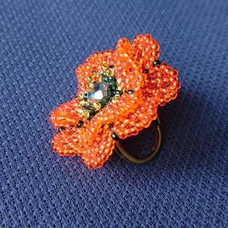 Кольцо Двухъярусный ажурный цветок из бисера. Красно-оранжевый.