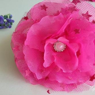 Шикарный цветок из шифона на обруче