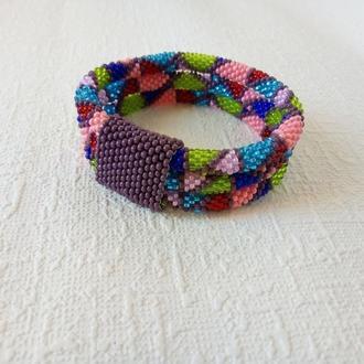 Тройной разноцветный браслет из бисера, украшения