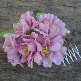 """Гребень """"Сакура"""" цветы из ревелюра"""