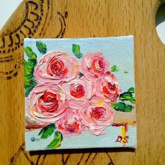 """Мини-картина маслом """"Розы"""""""