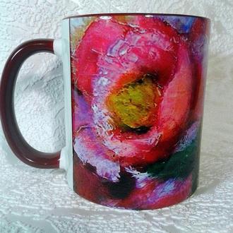 """Чашка керамічна з авторською картиною """"Квіткові мотиви""""."""