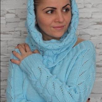Пуловер и снуд небесно-голубого цвета - ручная вязка