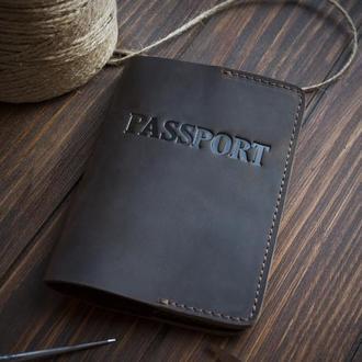 Кожаный чехол на паспорт - коричневый