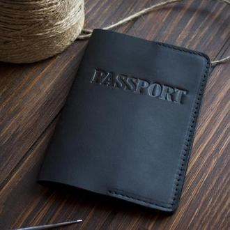 Кожаный чехол на паспорт - черный