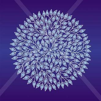 Мандала 1000 листьев на синем фоне. Принт А3 или цифровой.