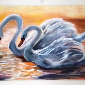 Лебеди. Интерьерная картина. Масло, холст, 50*75