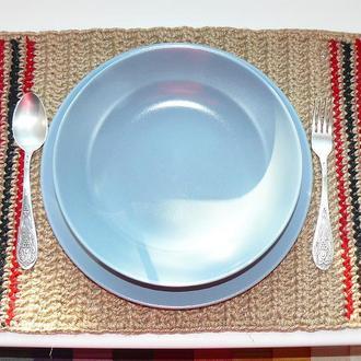 Эко-подставка под тарелки из джута прямоугольная Ручная работа