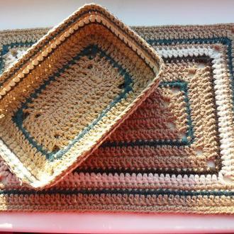 Корзинка-органайзер из джута прямоугольная с жесткими стенками Ручная работа