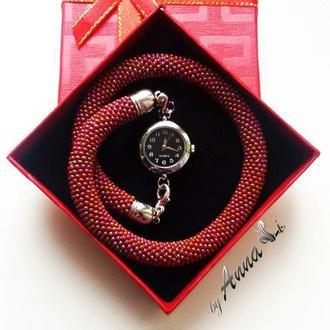 Браслет часы из бисера