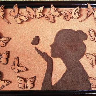"""Картина """"Бабочки"""" из песка"""