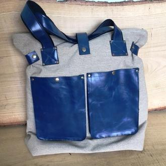 Рюкзак сумка с двумя карманами из кожи