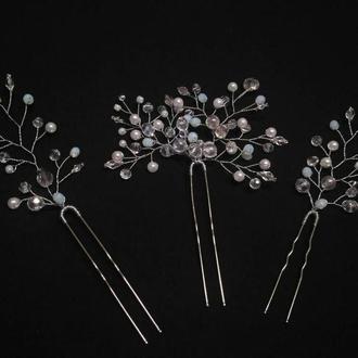 Набір ніжних  шпильок для весільної зачіски