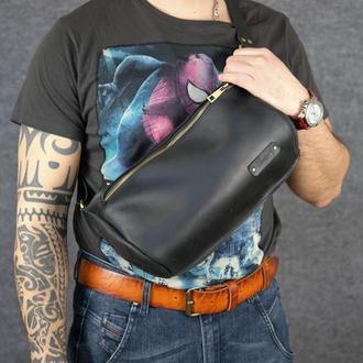 Мужская повседневная сумка-бананка |10157| Черный