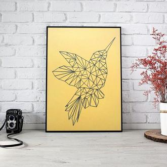 Интерьерная полигональная картина ручной работы