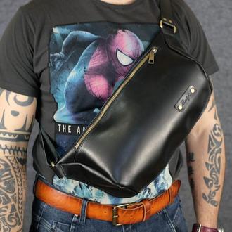 Мужская повседневная сумка-бананка |10167| Черная | Италия