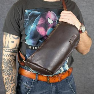 Мужская повседневная сумка-бананка |10169| Коричневый люксор