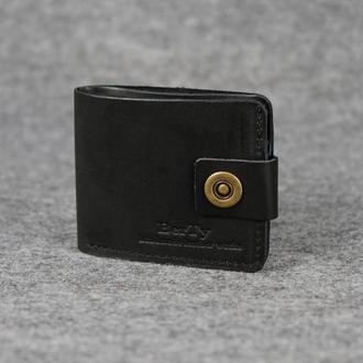 Классическое мужское портмоне (с карманом для мелочи) |10406| Черный
