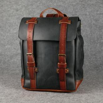 Мужской рюкзак HANKLE H1 |13206| Черный + Коньяк