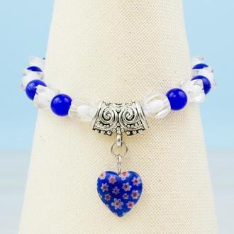 """Синий с белым браслет с подвеской синее стеклянное сердце и бусинами """"кошачий глаз"""""""