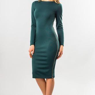 Темно-Зеленое Платье С Боковой Змейкой