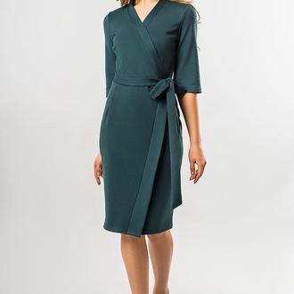 Темно-Зеленое Платье С Поясом