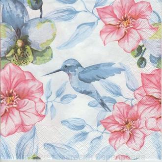 Салфетка Птичка и орхидея 33 х 33
