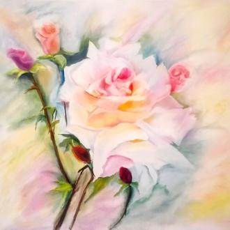 Интерьерная картина. Нежная роза. Масло, холст, 60*70