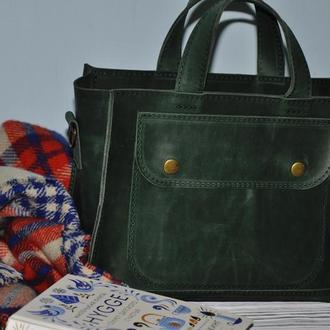 Кожаная сумка Аннабелл в зеленом цвете