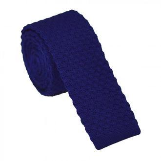 Галстук крупной вязки синий