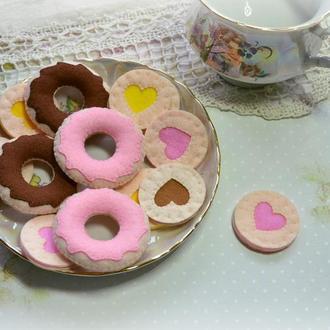 Печиво пончики із фетру/ Лялькова їжа/ Печенье пончики из фетра/ Кукольная еда