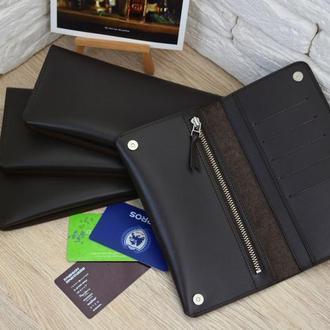 Мужской кожаный кошелек, Кожаный портмоне, Мужской длинный кошелек, Кошелек под заказ, Гравировка