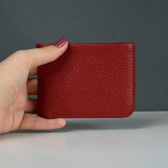Женский кожаный портмоне, Женский кожаный кошелек, Женский маленький кошелек, красный кошелек