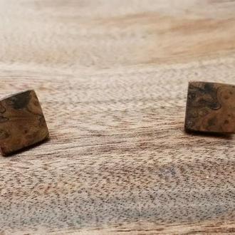 Дерев'яні сережки, деревянные серьги.