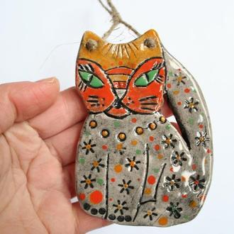"""Підвіска керамічна """"Кішка"""". Декор на стіну"""