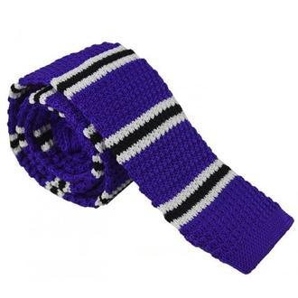 Галстук вязаный фиолетовый в черно-белую полосочку