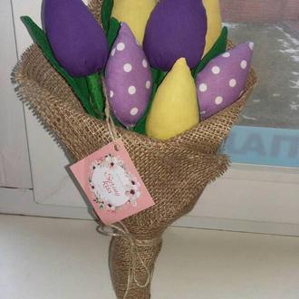 Цветы, букет на день рождения, подарок, тюльпаны, на пасху, Тильда