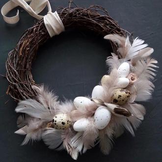 Пасхальный веночек с птицами